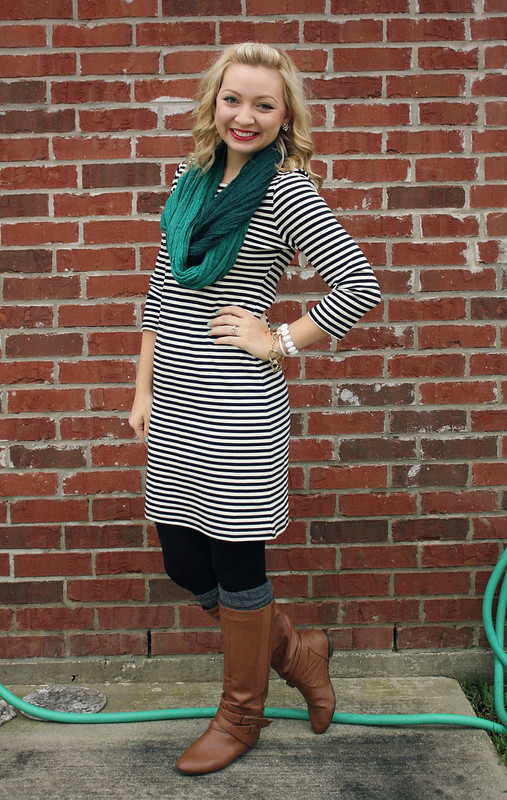 striped dress + scarf + boots