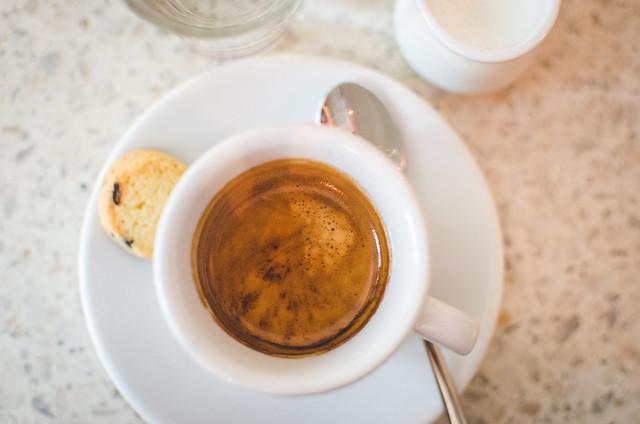 Morning espresso to begin breakfast at Pastacaffé in Prague.