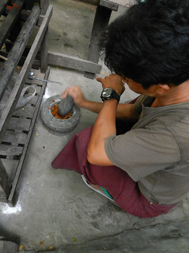 Pounding Chiles In the Mandalay Wood Carvers' Workshop
