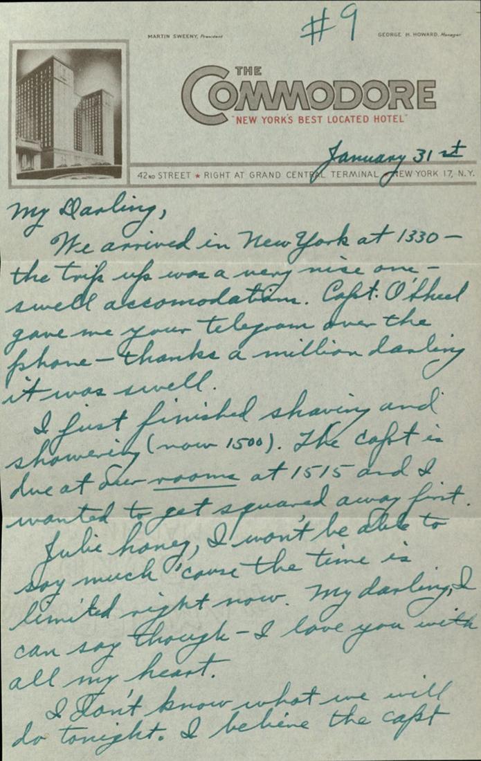 "Letter from Onnie Clem Jr. to ""Julie"" Cecile L. Julian Clem"
