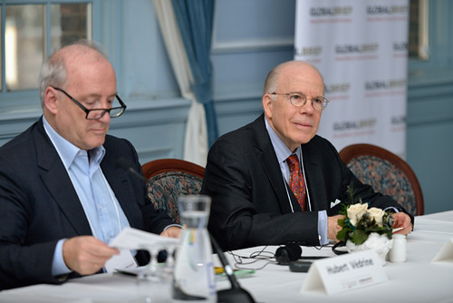 Hubert Védrine, former Foreign Minister of France & John E. McLaughlin, Distinguished Practitioner in Residence at the Johns Hopkins School of Advanced International Studies and former Deputy Director and Acting Director of the CIA