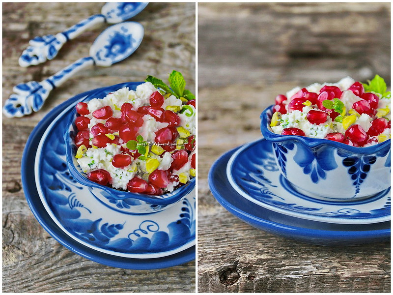 ...cheese salad with pomegranate collage