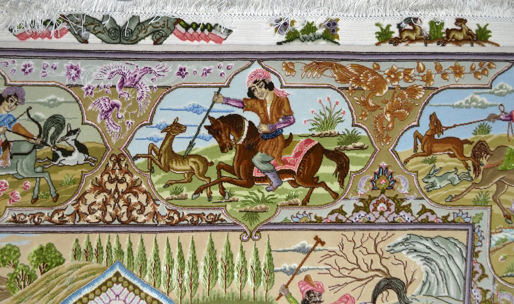 Tabriz 70 Raj - hunting scene Fine 7x10 (12)