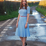 Pale blue fit-n-flare eyelet dress