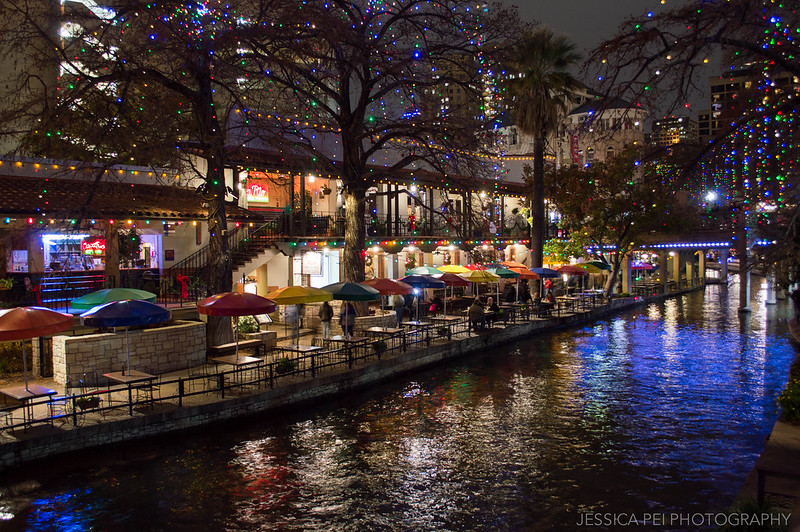 San Antonio Texas River Walk Restaurants at Night