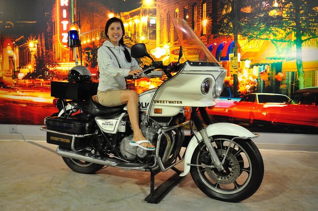 Doreen on a Kawasaki KZ1000 Police bike | American Police Ha
