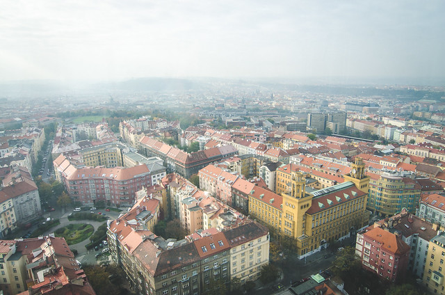 A wide angle view of Prague from the top of the Žižkov Television Tower.