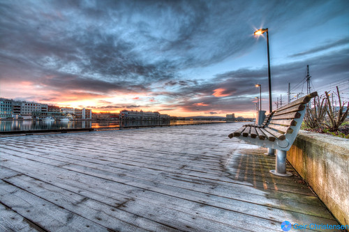 morning clouds sunrise river bench frost drammen