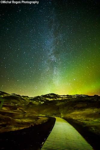 Milky way and aurora in Krysuvik - Iceland
