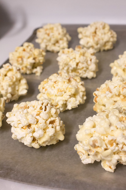 White Chocolate Popcorn Balls