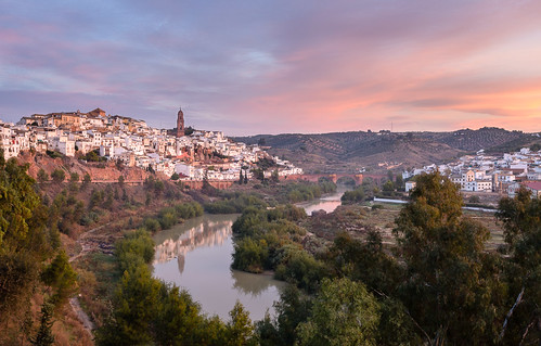 bridge tower river dawn spain andalucia curve córdobaprovince