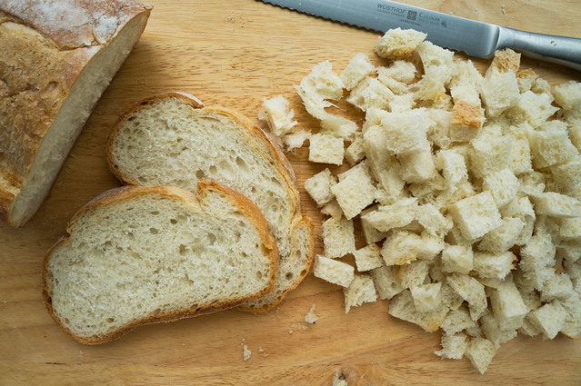 cubed country-style white bread