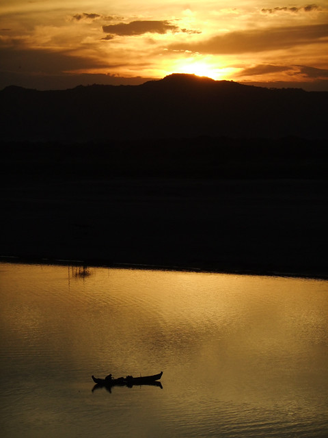 Golden Sunset on the River in Bagan Myanmar