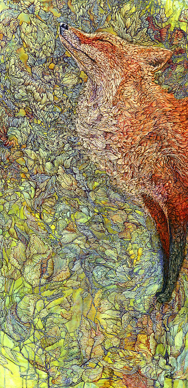 "Scenting Sunshine © Col Mitchell 60"" x 36"" x1.5"" Paper, acrylic inks on panel Pen & Ink on Sculpted Paper $4900 <a href=""http://colmitchell.com/shop""  #fox #nature #wildlife"