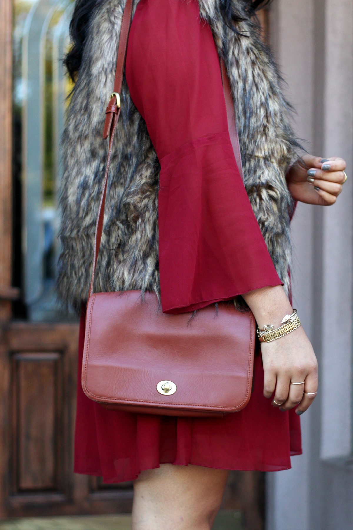 Fur Vest + Coach Purse