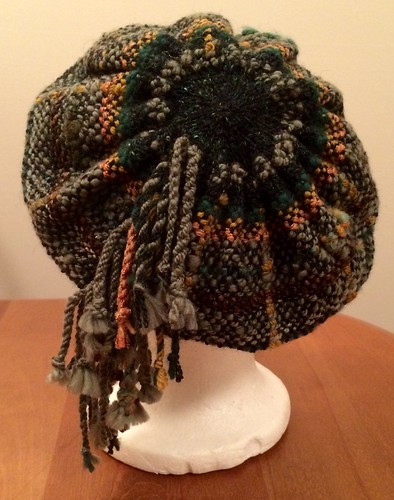 Woven SAORI hat with knitted brim and crown.
