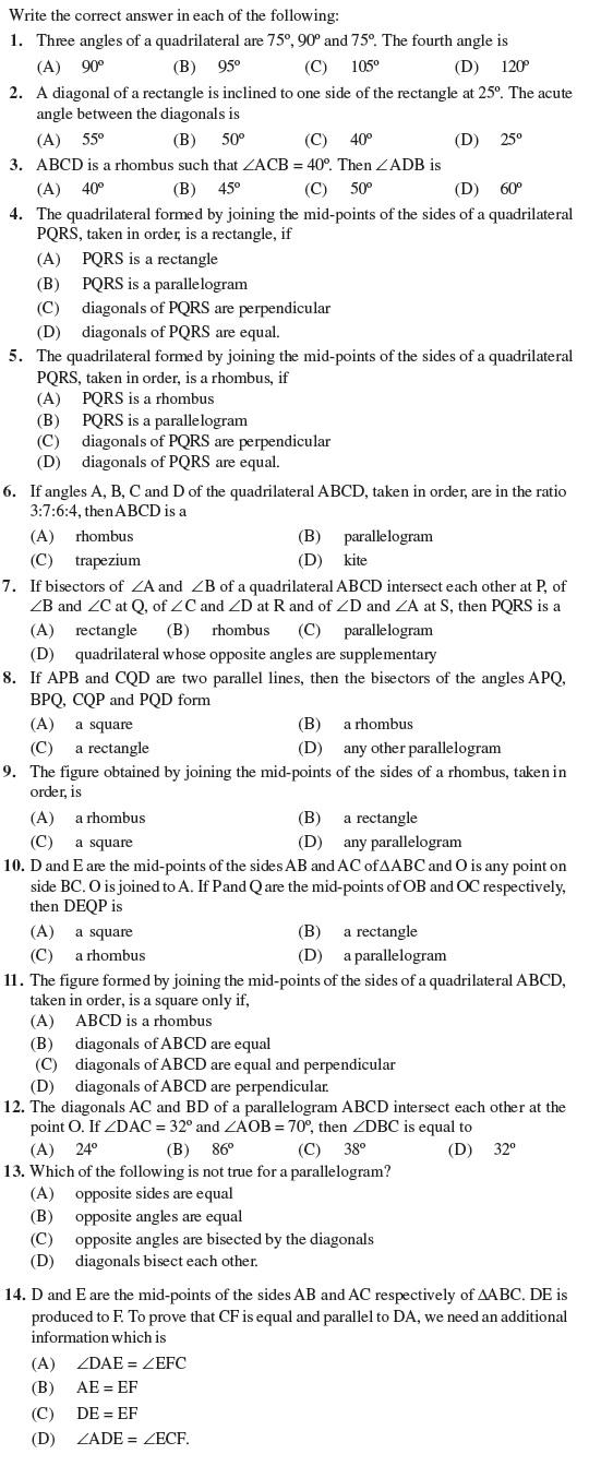 Class 9 Important Questions For Maths Quadrilaterals Aglasem Schools
