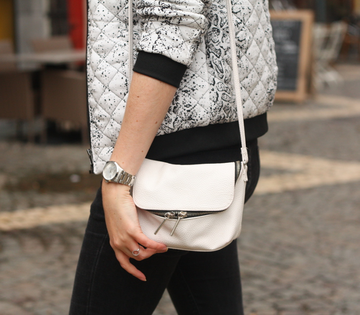 black and white snakeskin bomber