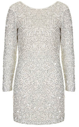 topshop crystal embellished bodyon dress silver