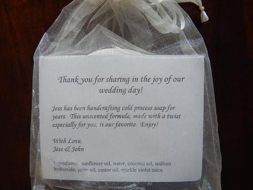 Cold Process Soap wedding favor