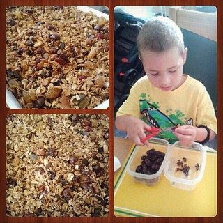 We made homemade granola (or muesli, as it's known here) today! Zak made an excellent chef's assistant- cutting dates, fetching and prong away ingredients,  and pouring them in.  Can't wait to eat some! #homemade #granola #cookingwithkids #norefinedsugaro