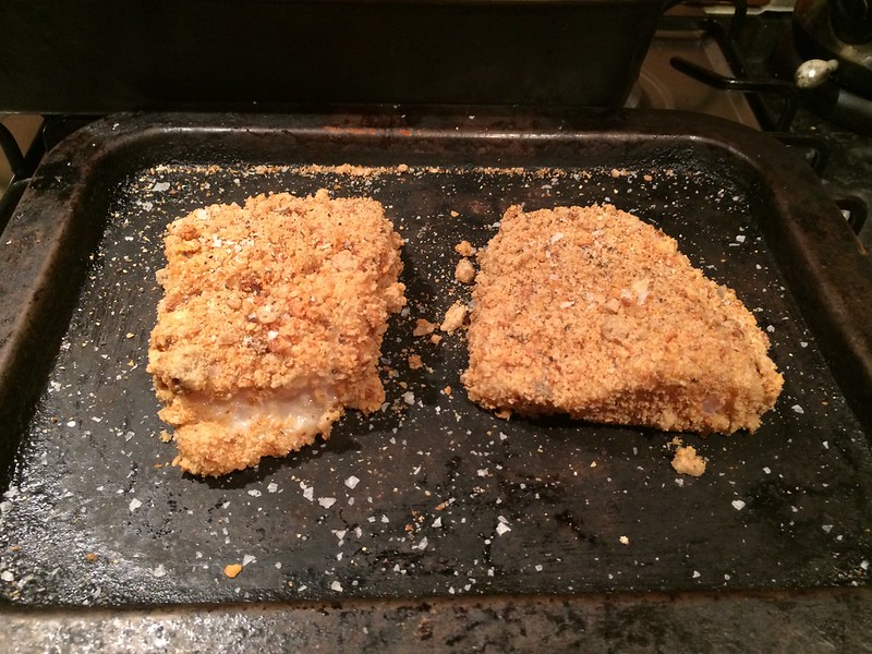 Breaded Fish and Chips : Place on a tray and season