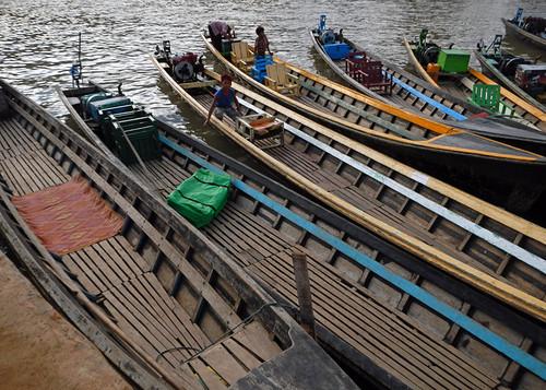 Boats on Inle Lake in Myanmar