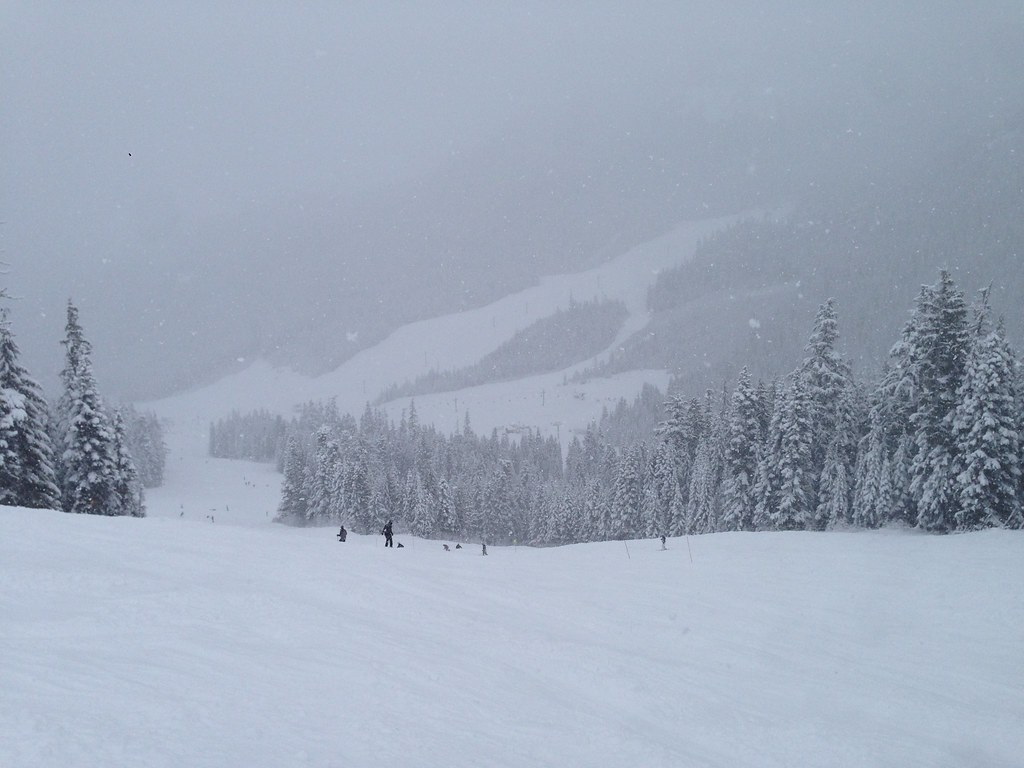 Skiing down Little Shot