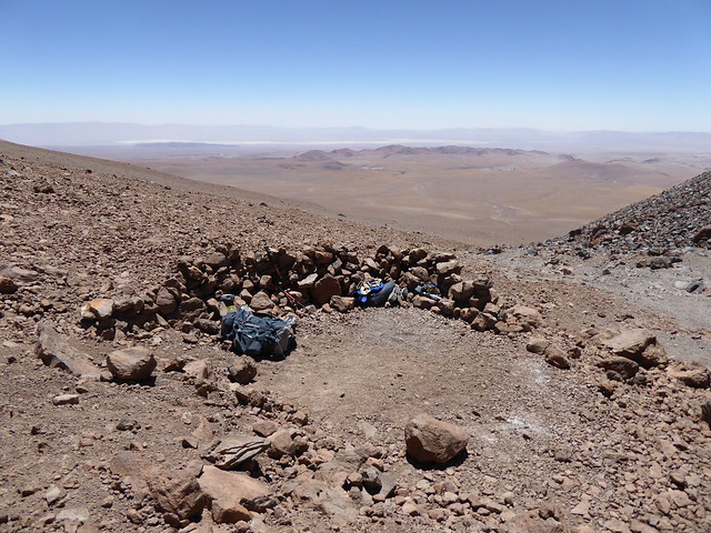 View of site of camp 1 on Llullaillaco