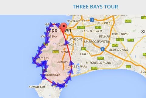 Mapa de ruta del three bays tour de Nac Helicopters sobre Ciudad del Cabo