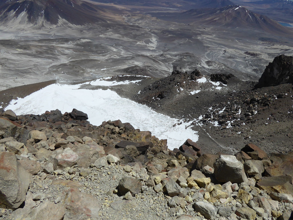Ojos del Salado crater from summit