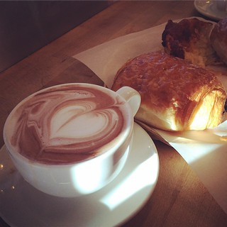 Pain au chocolat and chocolat chaud, the breakfast of champions, at Le Panier before wandering around Pike Place Market.
