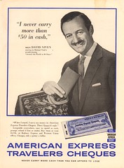 1958 American Express Travelers Cheques Advertisement with David Niven in Newsweek March 24 1958