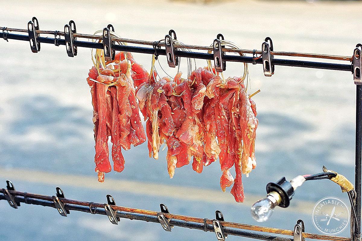 Meat skewers hanging