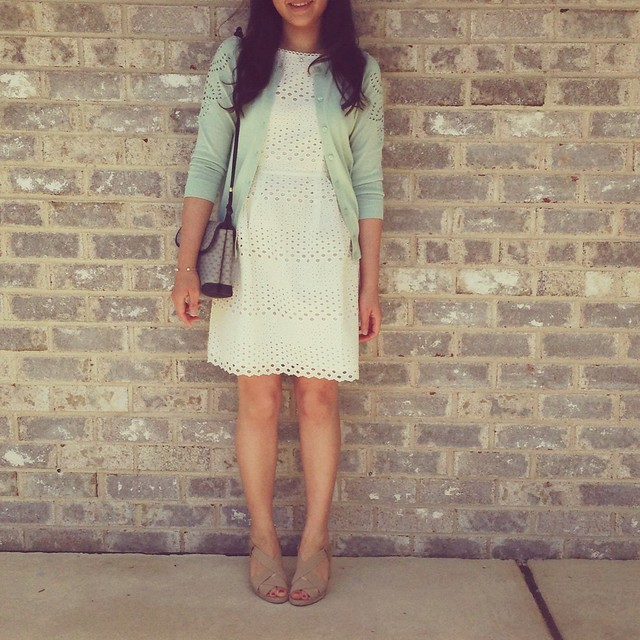 LOFT eyelet sleeve cardigan and eyelet dress, Andre Assous Josie espadrilles, Gucci vintage crossbody