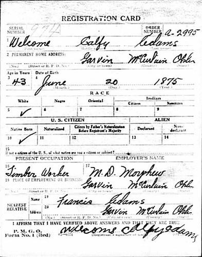 ADAMS, Welcome Calfy | WWI Draft Card