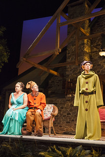 Marcia DeBonia, Martin Moran, and Allison Layman in Christopher Durang's smash-hit Broadway comedy Vanya and Sonia and Masha and Spike, directed by Jessica Stone, based on the Broadway direction of Nicholas Martin, playing January 2 – February 1, 2015 at the BU Theatre / Avenue of the Arts. Photo: Jim Cox