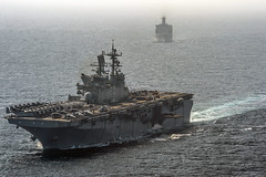 USS Makin Island (LHD 8) and USS Comstock (LSD 45) transit the Arabian Sea Jan. 6 during operations in U.S. 5th Fleet. (U.S. Navy/MC3 Robin W. Peak)