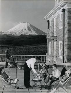 Chateau Tongariro, Mt Ngauruhoe in background, 1960