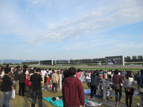 京都競馬場のターフビジョン