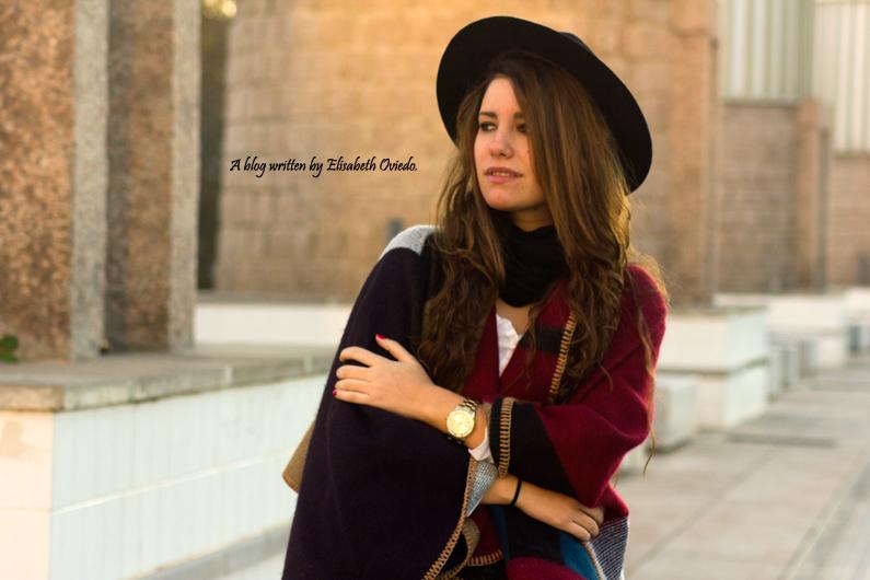 capa manta de cuadros Oasap + sombrero HEELSANDROSES look (4)