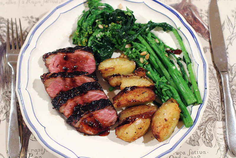 marinated duck breast with roasted duck breasts with wild sauteed ...