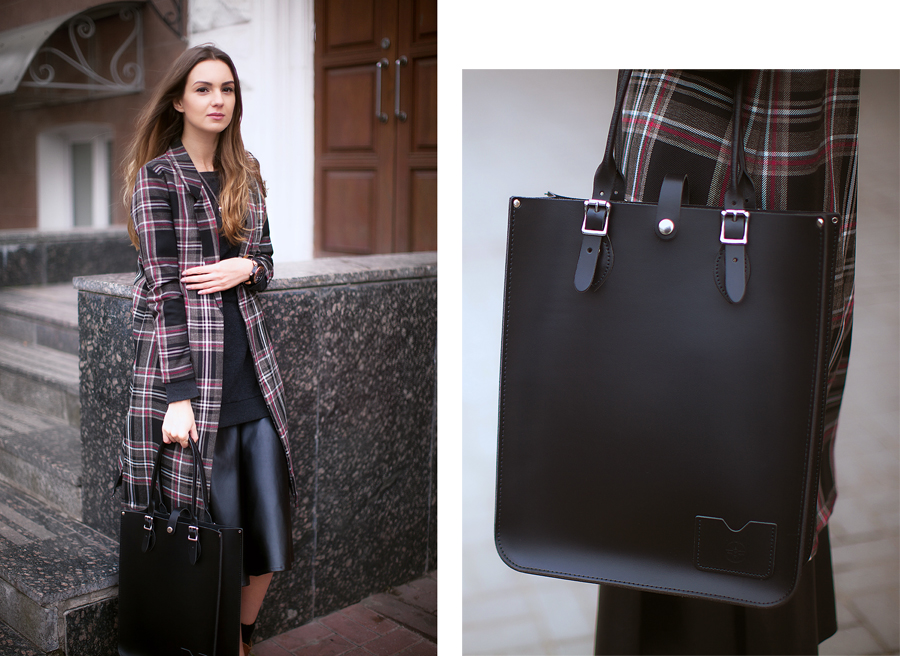 black-leather-tote-bag-outfit-ideas-plaid-tartan-coat