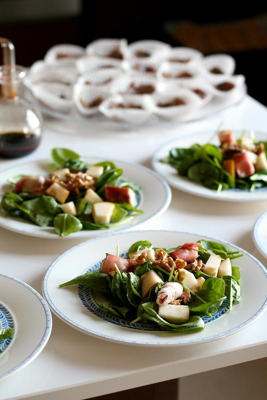 insalata di spinacino con noci