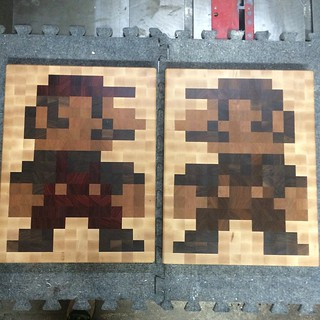 Super Mario Bros Butcher Blocks. #supermario #mariobros #luigi #mario #bloodwood #verawood #walnut #cherry #maple #woodporn #woodworking #butcherblock #cuttingboard #reversable #breadboard #pixelart #pixel #8bit #wooddesign #madeincanada #gline #avalondes