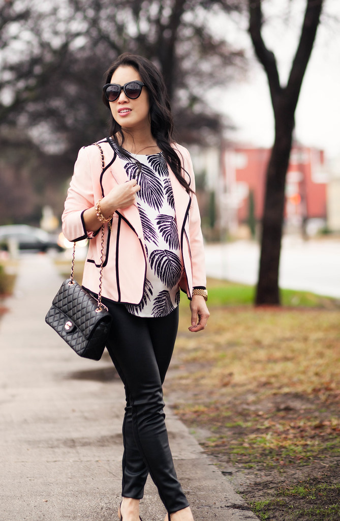 cute & little blog | petite fashion maternity | pink black piping blazer, leaf print top, leather pants, pink bow flats, chanel flap purse | fall outfit
