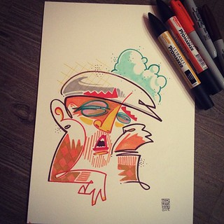"""""""Heavy nights"""" More Son, less sleep.  #freestyle #doodle #sharpie #marker #drawing #sleep #colors #headintheclouds"""