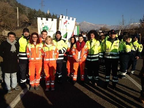 Avezzano: i volontari della Croce Verde Civitella Roveto al monumento di Avezzano