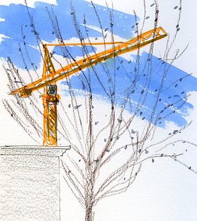 1-19-15 Roosevelt Station construction crane from Starbucks window, Seattle