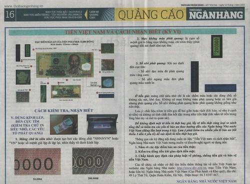 Ngan Hang (Banking) newspaper article on polymer notes